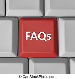 preguntas, faqs, llave computadora, teclado, frequently, preguntado, rojo