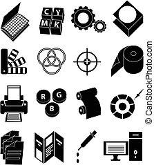 prensa, impresión, conjunto, iconos