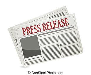 prensa, liberación, periódico, diseño, ilustración