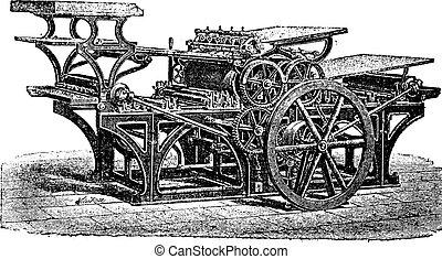 prensa, marinoni, doble, grabado, vendimia, impresión