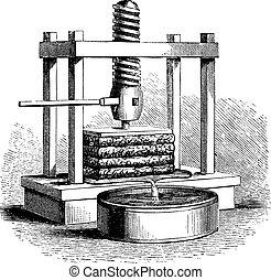 prensa, vendimia, sidra, grabado