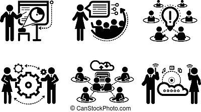 presentación, concepto, trabajo en equipo, iconos del negocio