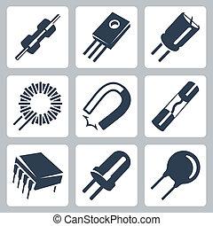 preventer, transistor, componentes, iconos, imán, diodo, condensador, vector, set:, inductance, resistor, electrónico, varistor, rollo, microcircuito