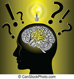 problema, cerebro, el solucionar, idea