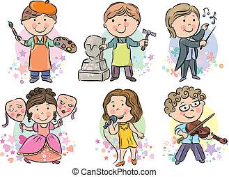 profesiones, 2, conjunto, niños