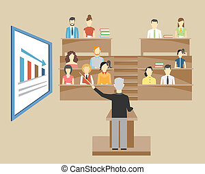 Profesor dando conferencias a estudiantes en la universidad
