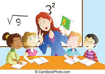 Profesor y estudiante en el aula