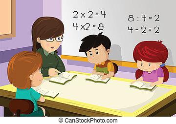 Profesor y estudiante en la clase