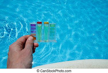 Pruebas de agua de la piscina