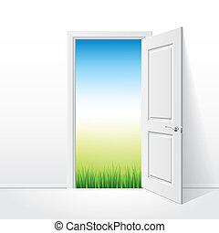 puerta, abierto, naturaleza, ilustración, vector, blanco