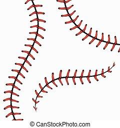 Puntos de béisbol, cordones de softball aislados en blanco. Vector listo.