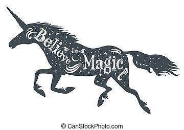 quote., magia, silueta, unicornio