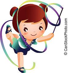 rítmico, gimnasta, niña, practicar, pe
