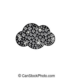 realista, ilustración, vector, diamantes, nube