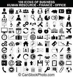 recurso, conjunto, finanzas, iconos de la oficina, empresa / negocio, humano