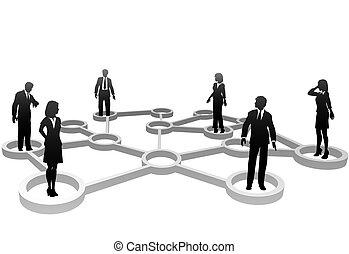 red, empresarios, siluetas, conectado, nodos