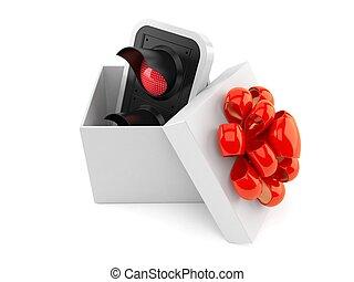 regalo, dentro, semáforo, rojo