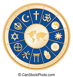 religiones, mapa, mundo