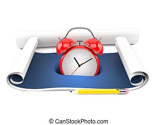 reloj, alarma, cianotipo
