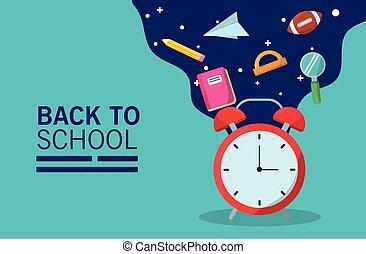 reloj, alarma, flujo, estación, espalda, suministros, letras, escuela