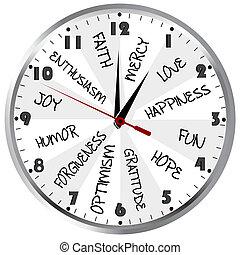 Reloj con sentimientos positivos