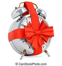 Reloj de alarma con arco y cinta, concepto de regalo. 3D