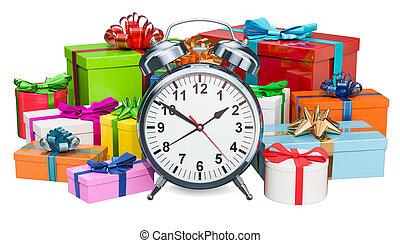 Reloj de alarma con cajas de regalo, concepto de regalo. 3D