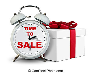 Reloj de alarma con regalo, hora de vender concepto en blanco