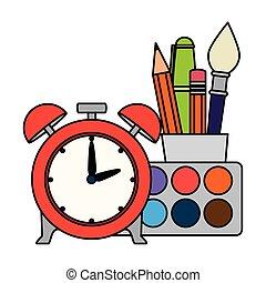 Reloj de alarma con suministros escolares