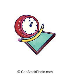 Reloj de tiempo con clase y lápiz