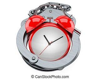 reloj, esposas, alarma
