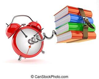 reloj, libros, alarma