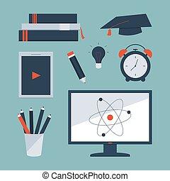 reloj, libros, lápiz, conjunto, alarma, computadora, escuela, etcétera, suministros, tableta