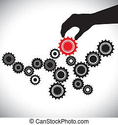 representa, gráfico, controlado, person(leader), y, importancia, liso, ilustración, esto, vector, negro rojo, llave, equipo, balance, blanco, funcionar, ruedas dentadas, hand(person)., engranaje
