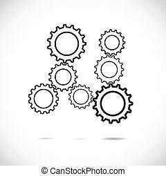 resumen, synchronous, girar, implying, equilibrado, ruedas dentadas, su, juegos, trabajando, y, negro, papel, blanco, rueda, controlado, engranaje, actuación, equipo, system., movimiento, armonioso, cada, trabaja