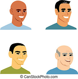 Retrato de avatar de dibujos animados de 4 hombres