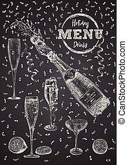 retro, vino, negro, card., cóctel, champaña., plantilla, mano, estilo, conjunto, fondo., vidrio, chalckboard, barra, vendimia, aislado, dibujado, símbolo., bebida, diseño, alcohol, botella, menú