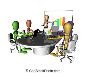 reunión negocio, gente, presentación