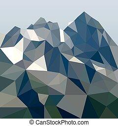 Roca al estilo poligonal. Un paisaje de montaña. Ilustración de vectores