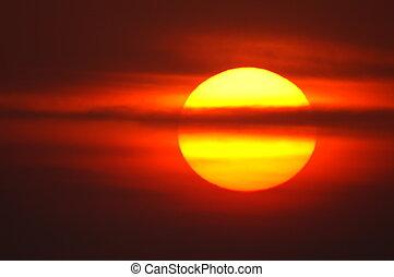 rojo, salida del sol