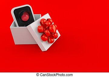 rojo, tráfico, dentro, regalo, luz