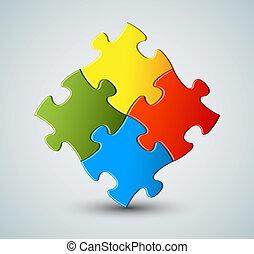 rompecabezas, vector, solución, plano de fondo, /