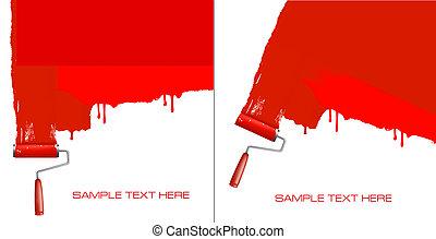 Ropa roja pintando la pared blanca.