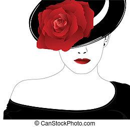 rosa, mujer, sombrero