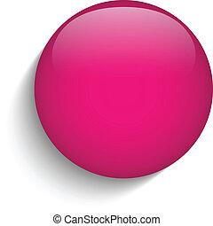 rosa, vidrio, círculo, botón, icono