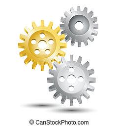 rueda, emblema, engranaje, diente