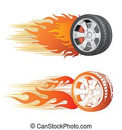 rueda, llama