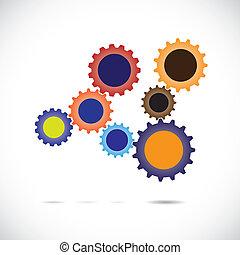 rueda, movimiento, asociado, colorido, y, system., total, resumen, cada, synchronous, él, complements, girar, implying, balance., diente, equipo, equilibrado, controlado, trabaja, ruedas dentadas