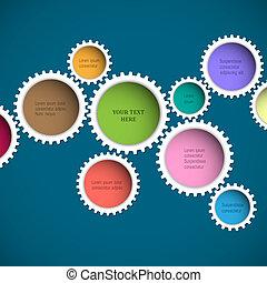 ruedas, resumen, colorido, engranaje