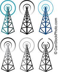 símbolos, torre, conjunto, radio, vector